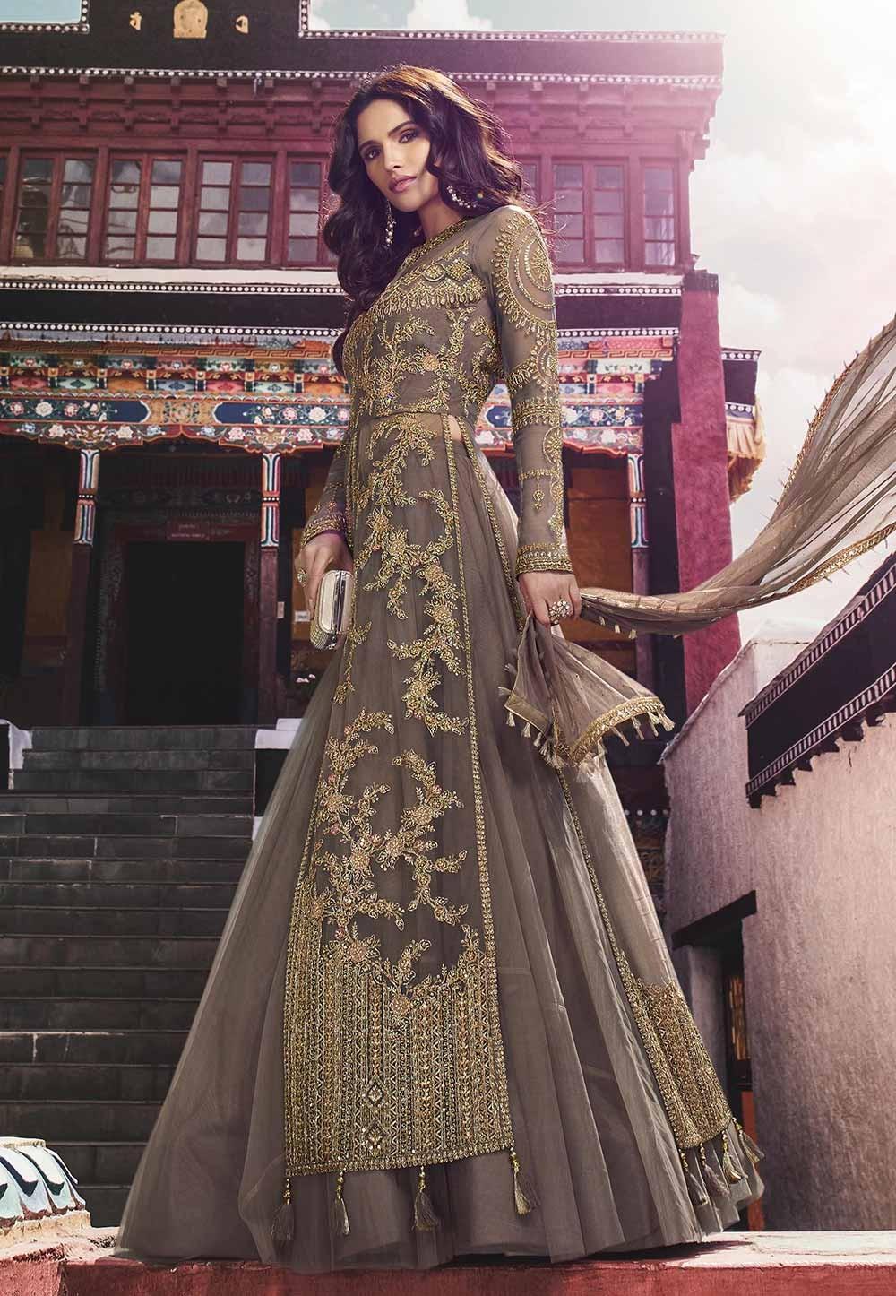 Brown Color Net Salwar Suit.