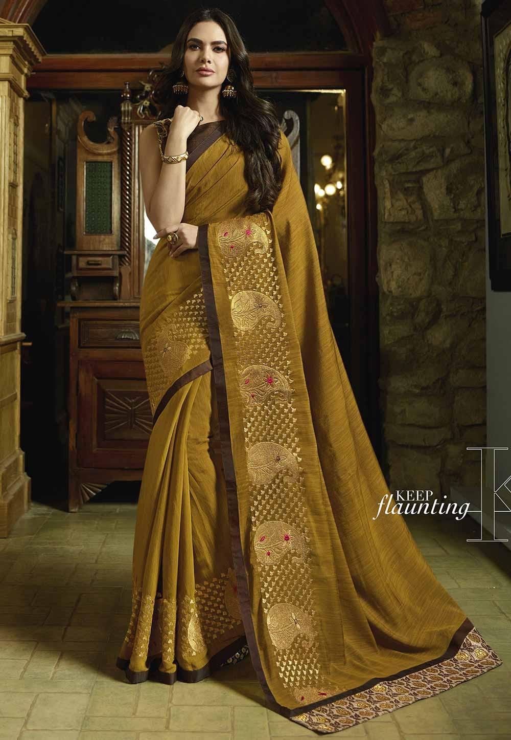 Yellow Color Silk Indian Saree.