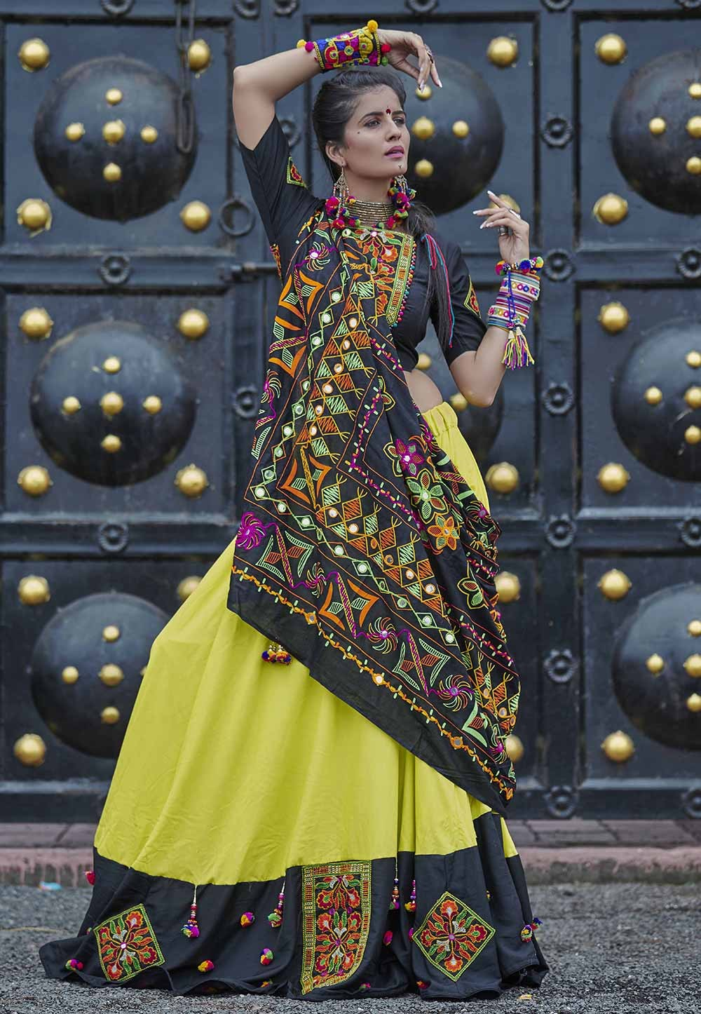 Black,Green Colour Lehenga Choli.