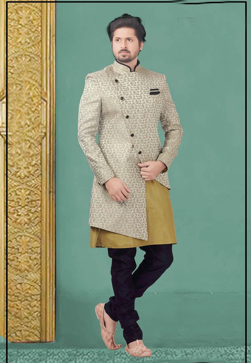 Grey Colour Designer Men's Indowestern.