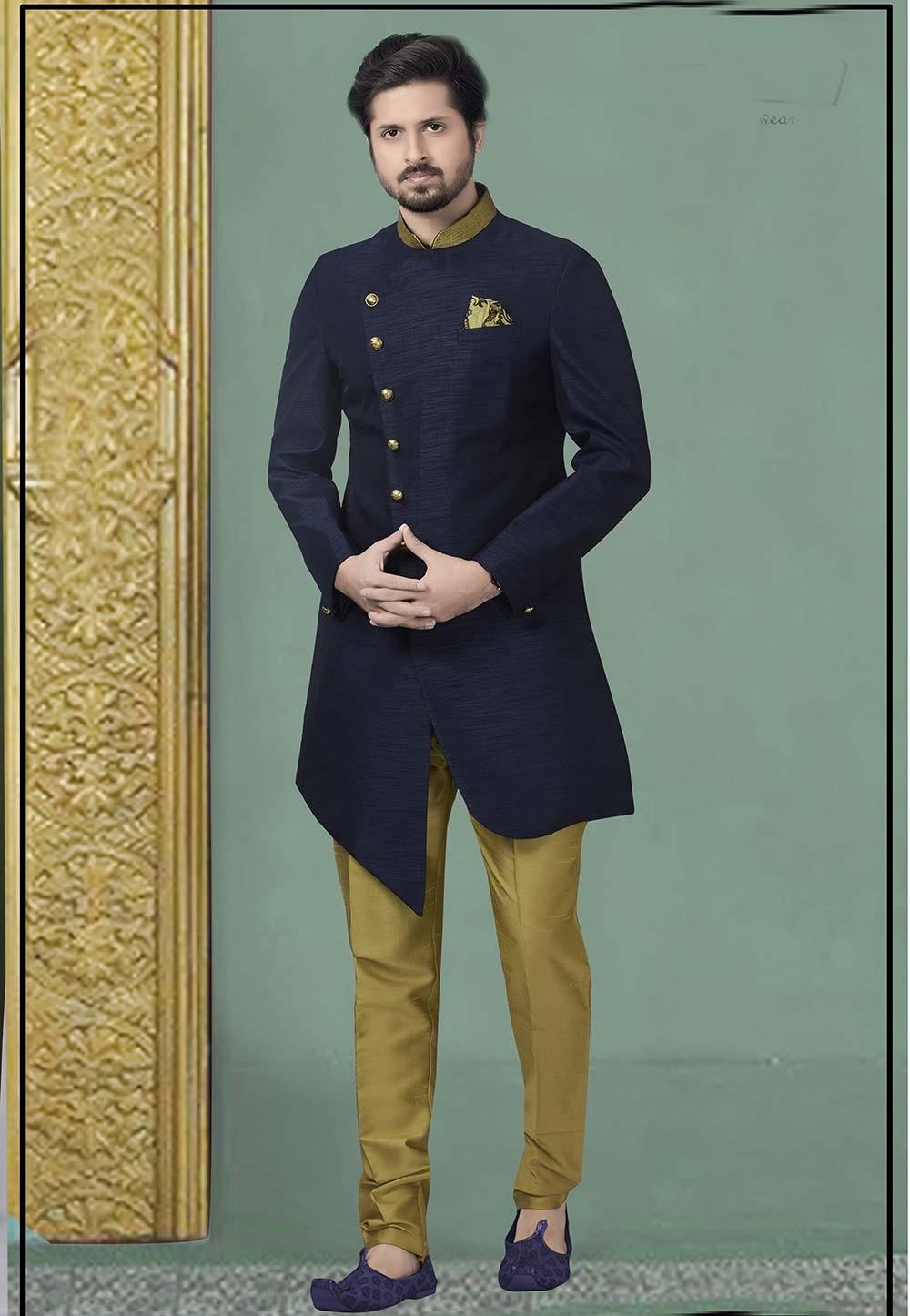 Navy Blue Colour Silk Men's Indowestern.
