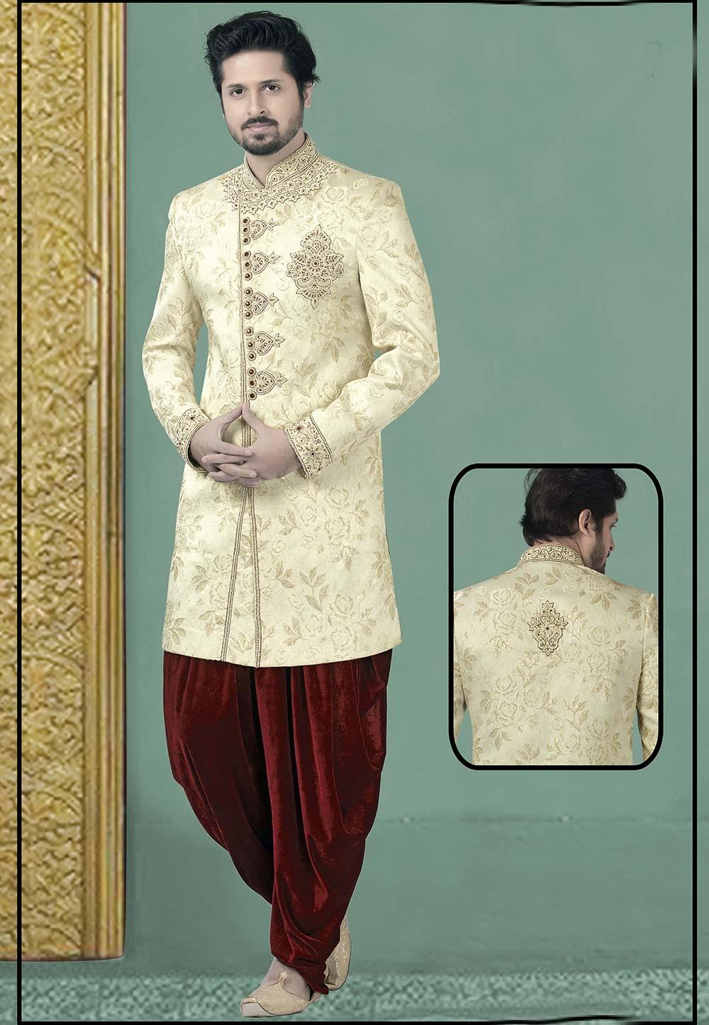 Cream Colour Designer Men's Indowestern.
