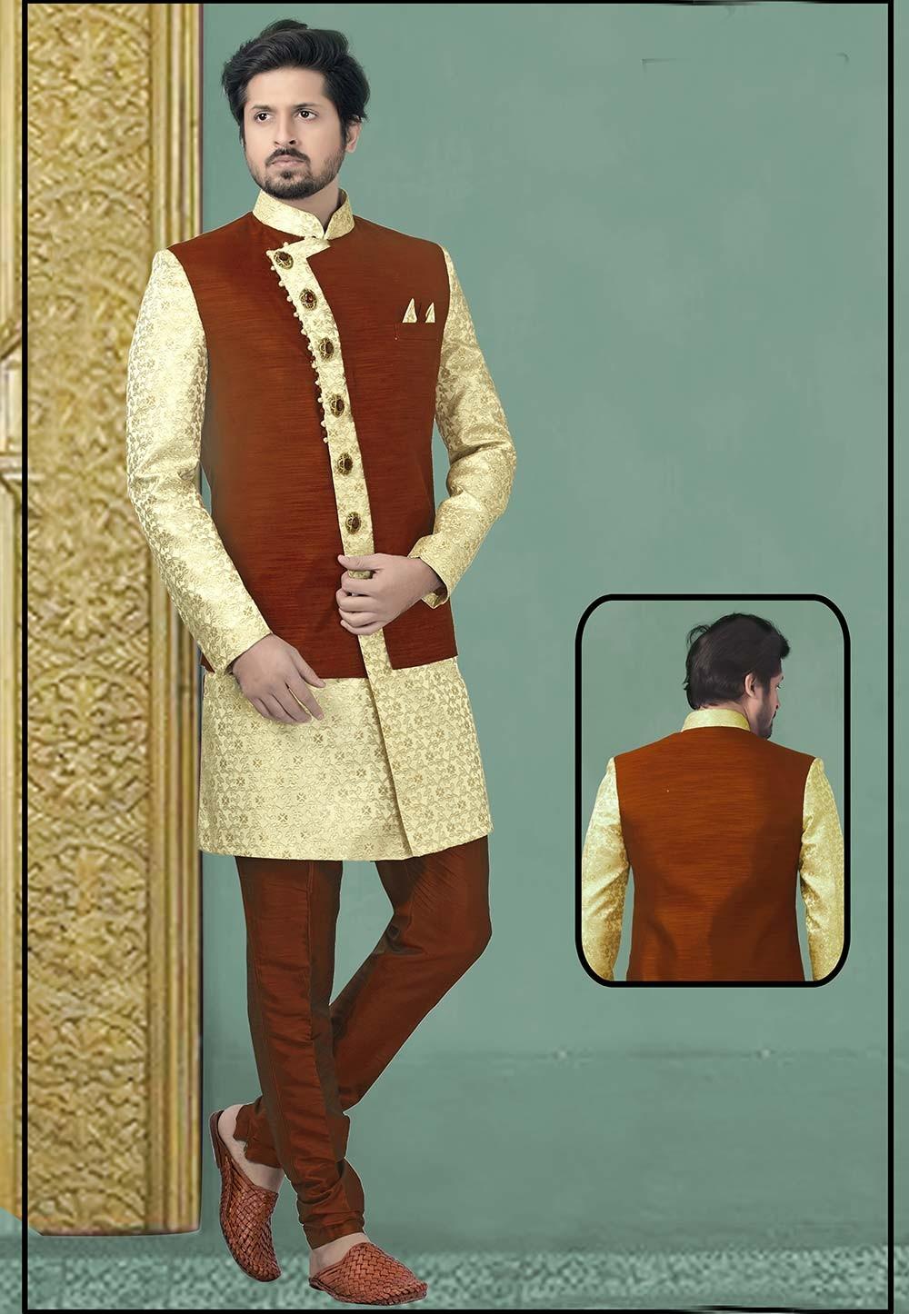 Cream,Maroon Colour Party Wear Indowestern.