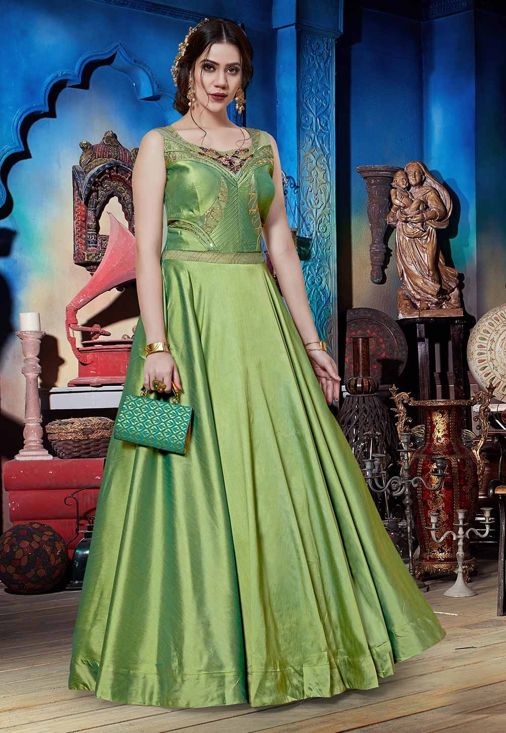 Green Colour Silk Readymade Gown.