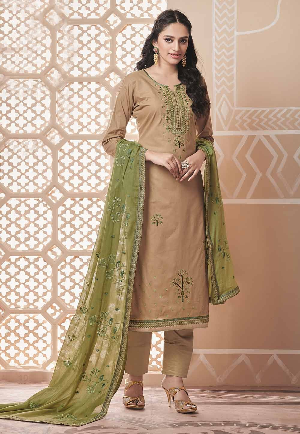 Beige Colour Casual Salwar Kameez.