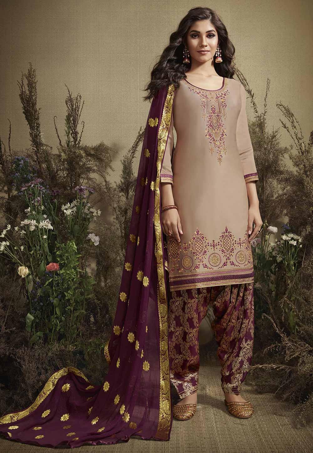 Beige Colour Designer Patiala Salwar Suit.
