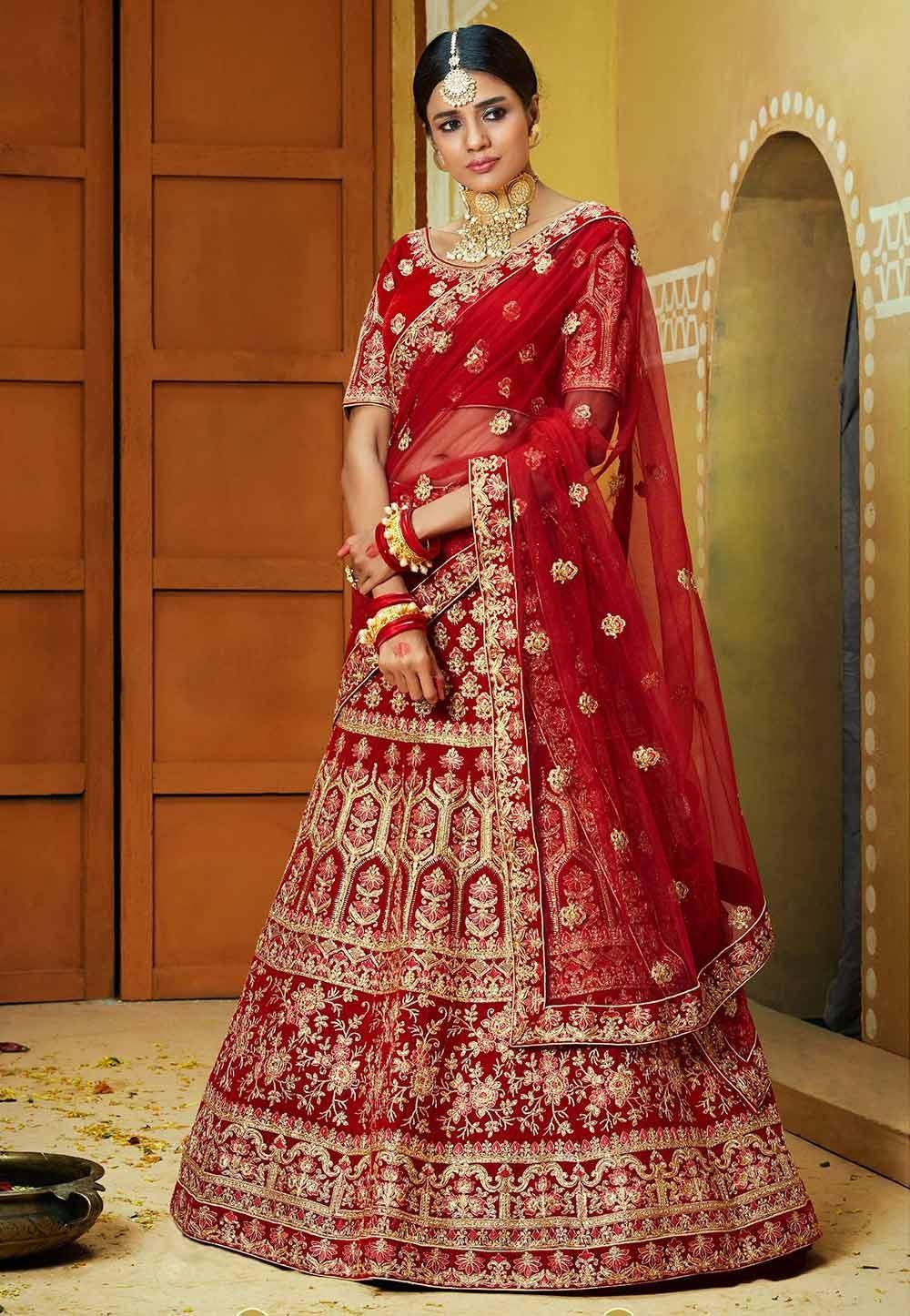 Red,Maroon Colour Velvet Lehenga Choli.