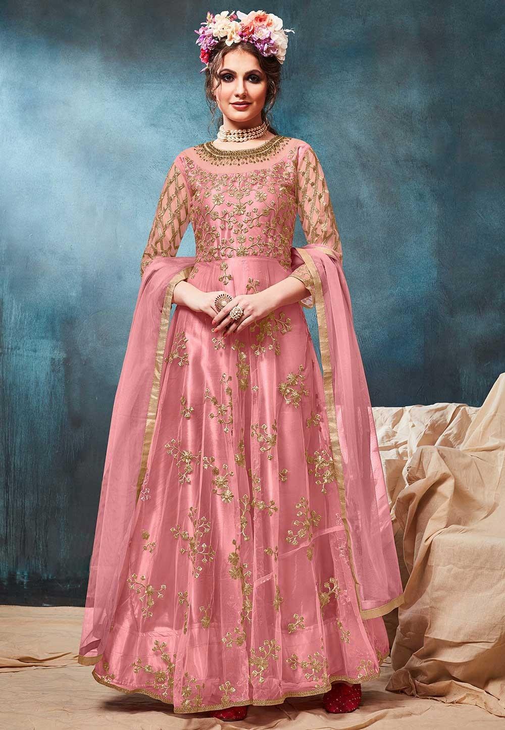Pink Colour Designer Long Salwar Suit.