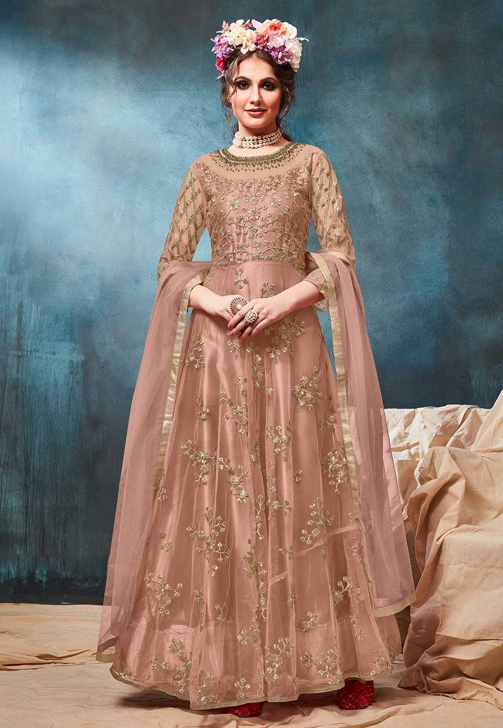 Anarkali Salwar Suit Brown Colour.