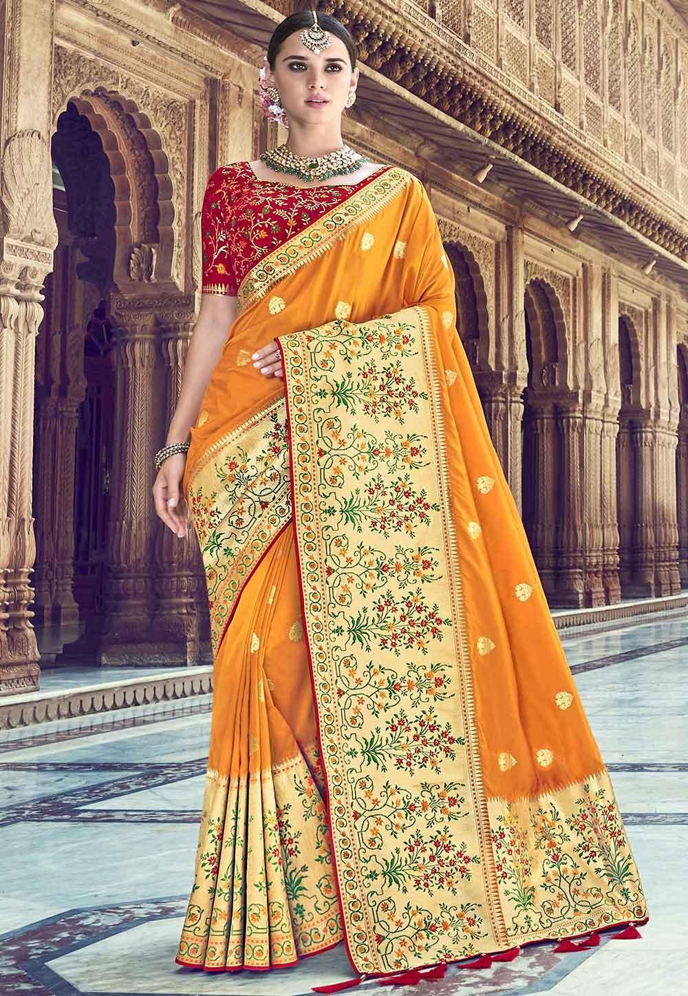 Orange Colour Indian Saree.