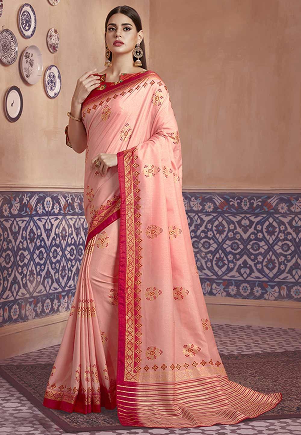 Baby Pink Colour Silk Sari.