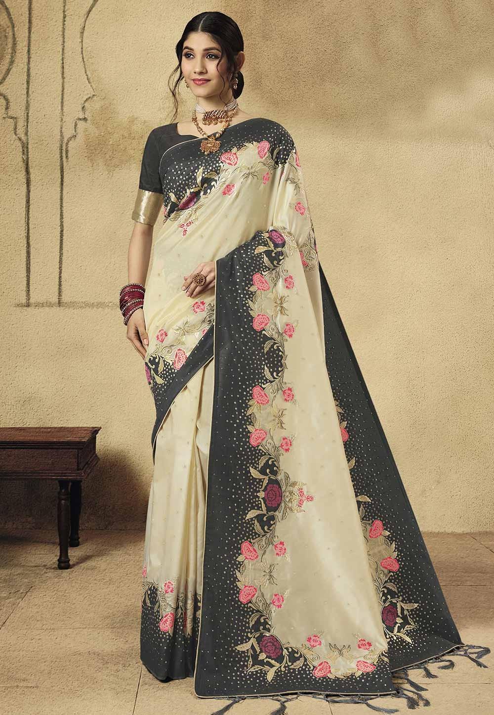 Cream Colour Designer Sari.