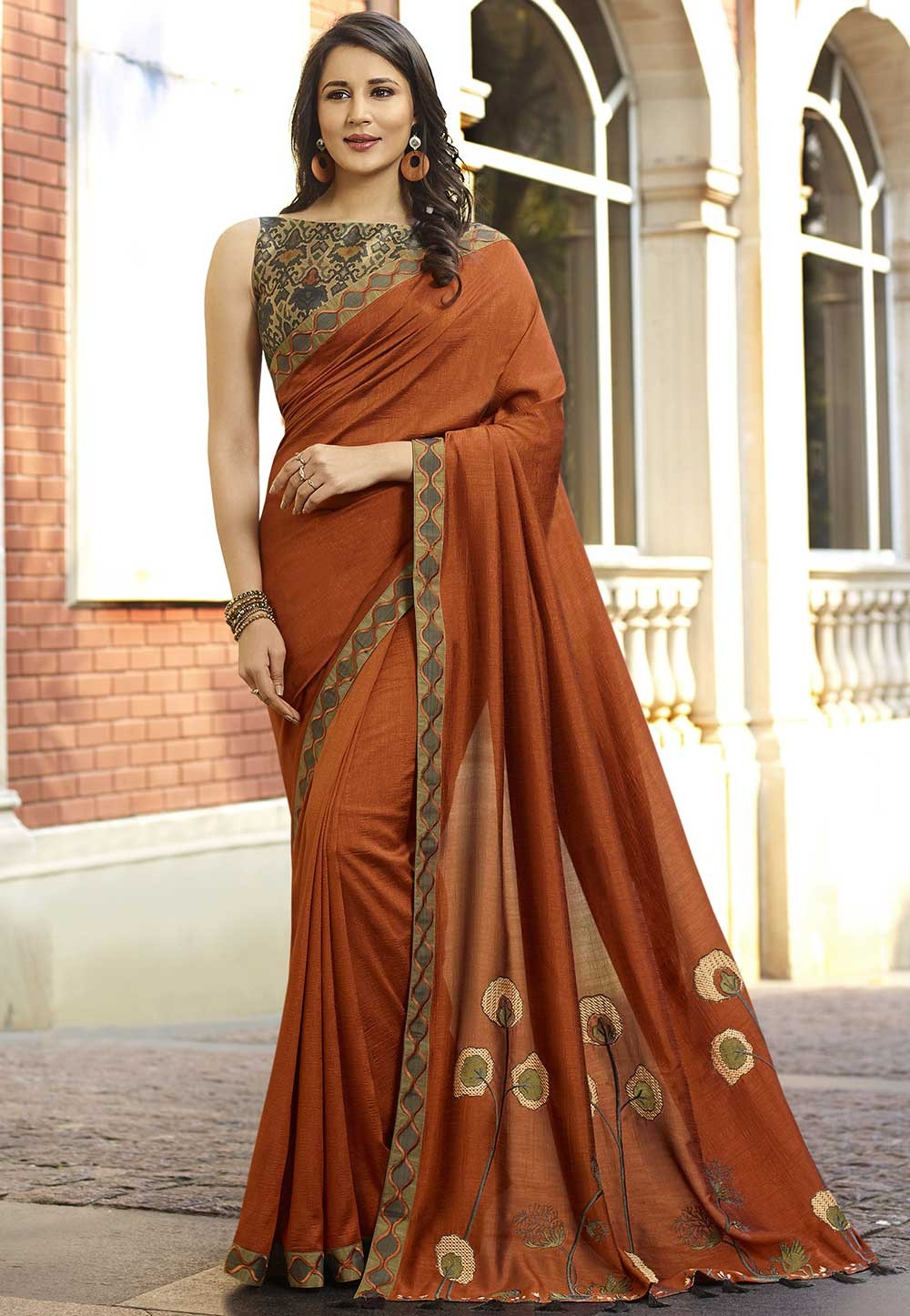Orange Colour Designer Sari.