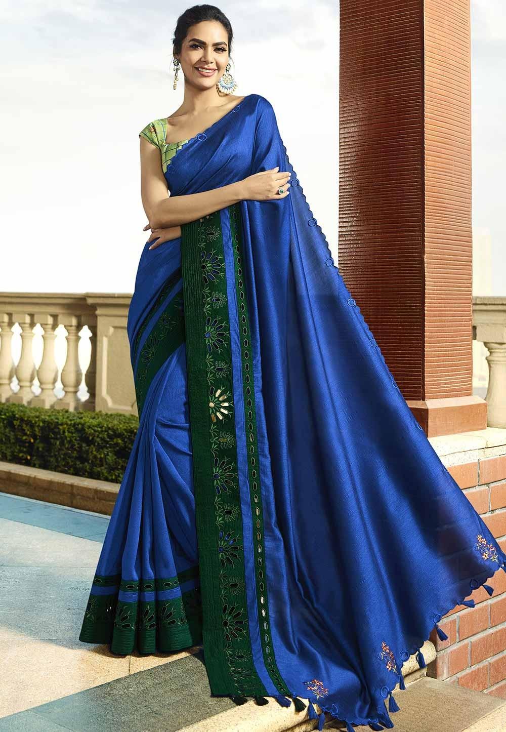 Blue Colour Designer Silk Saree.