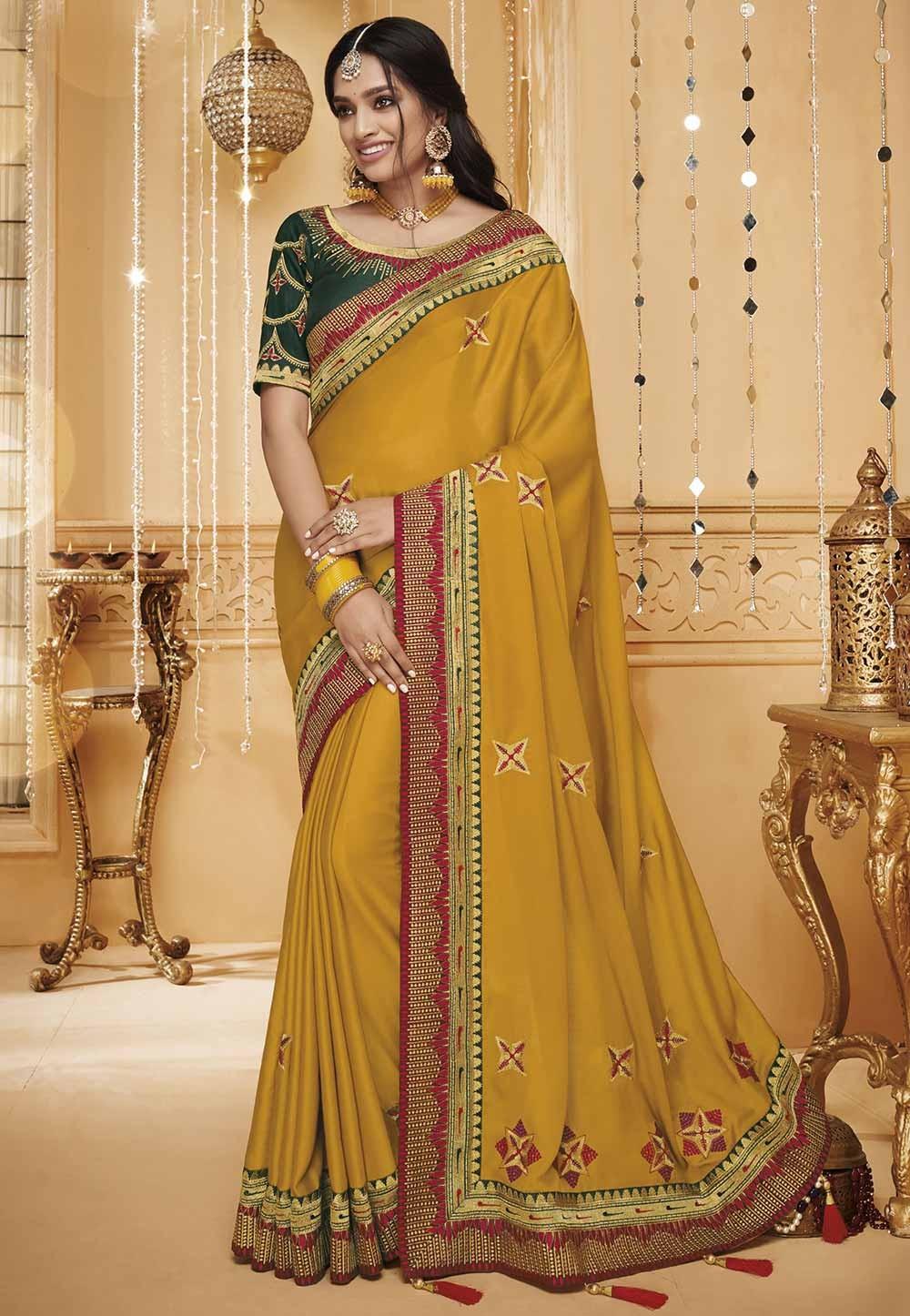 Yellow Colour Indian Designer Sari.