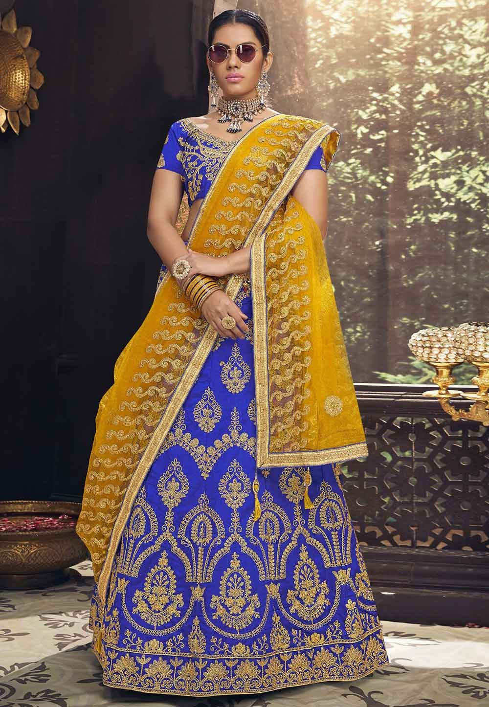 Blue Colour Embroidery Lehenga Choli.