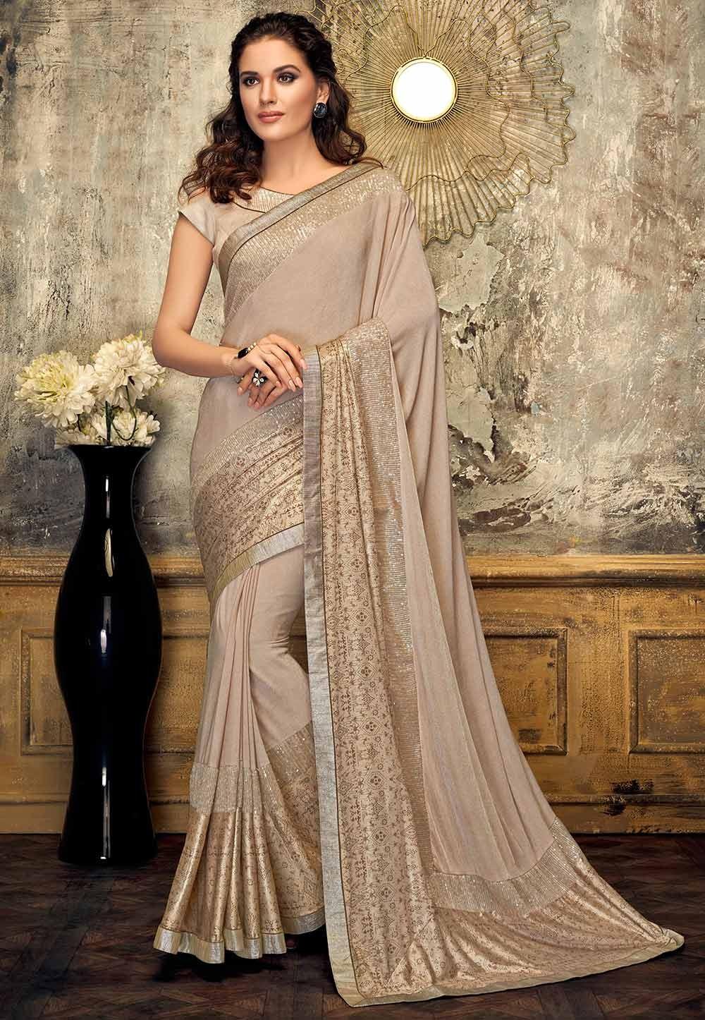 Beige Colour Indian Designer Sari.