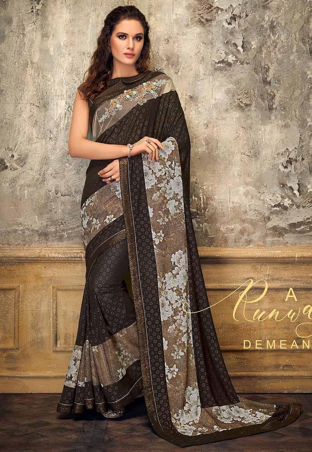 Brown Colour Lycra Fabric Saree.