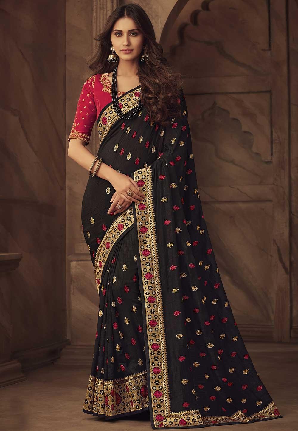 Black Colour Party Wear Silk Saree.