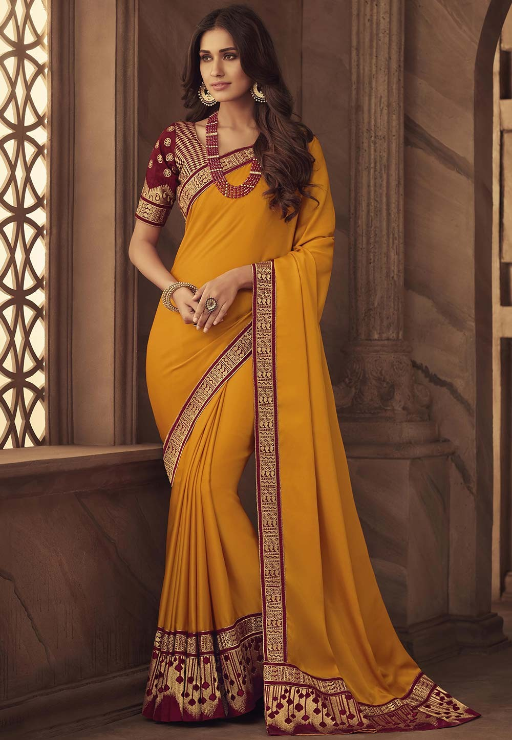Orange Colour Indian Traditional Sari.