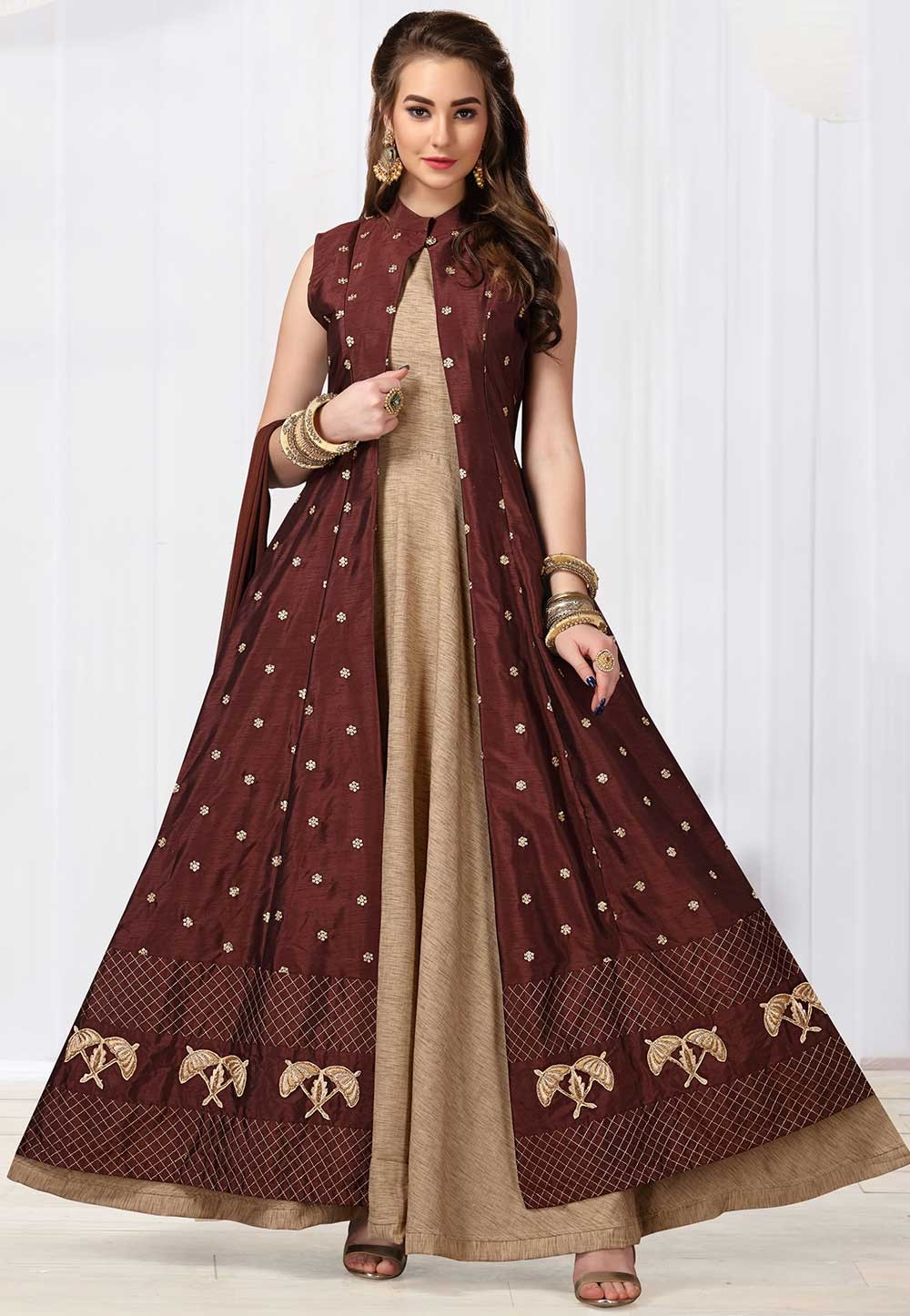 Beige,Maroon Colour Designer Salwar Suit.