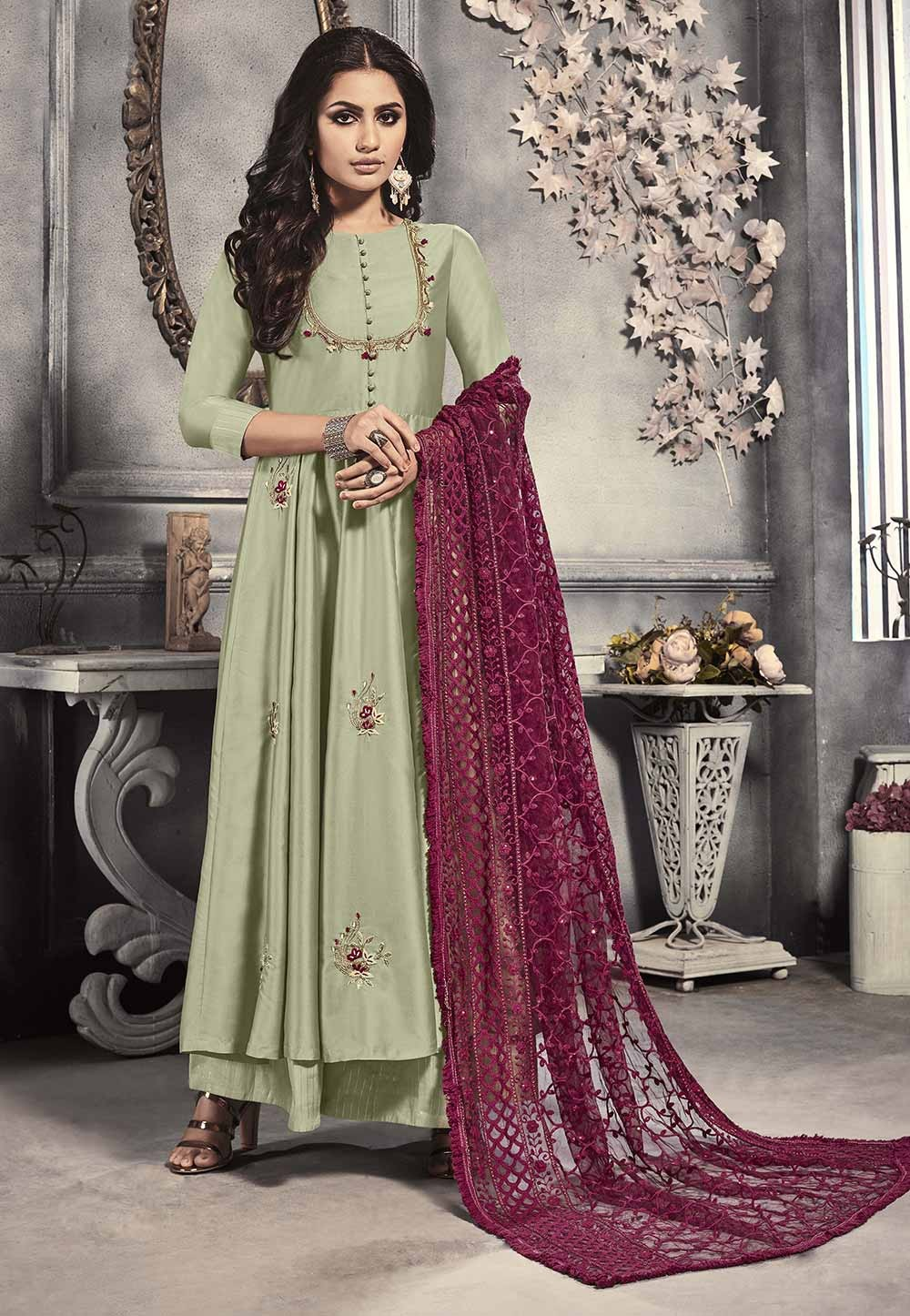 Pista Colour Indian Designer Salwar Suit.