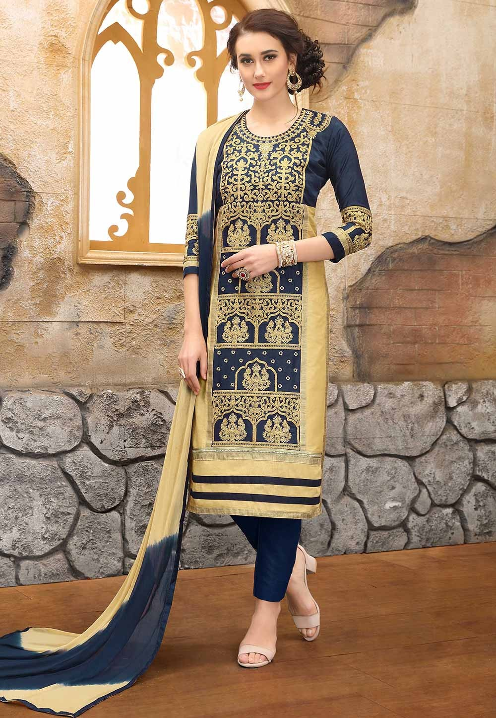Beige,Blue Colour Casual Salwar Suit.