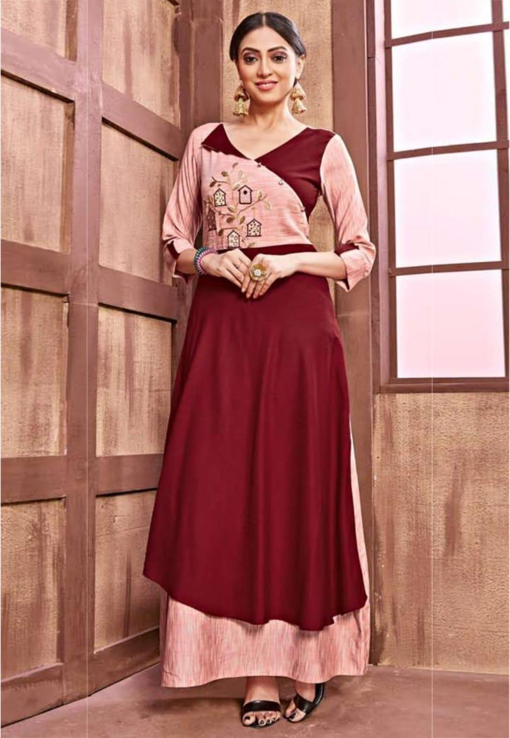 Maroon,Peach Colour Cotton Kurti.