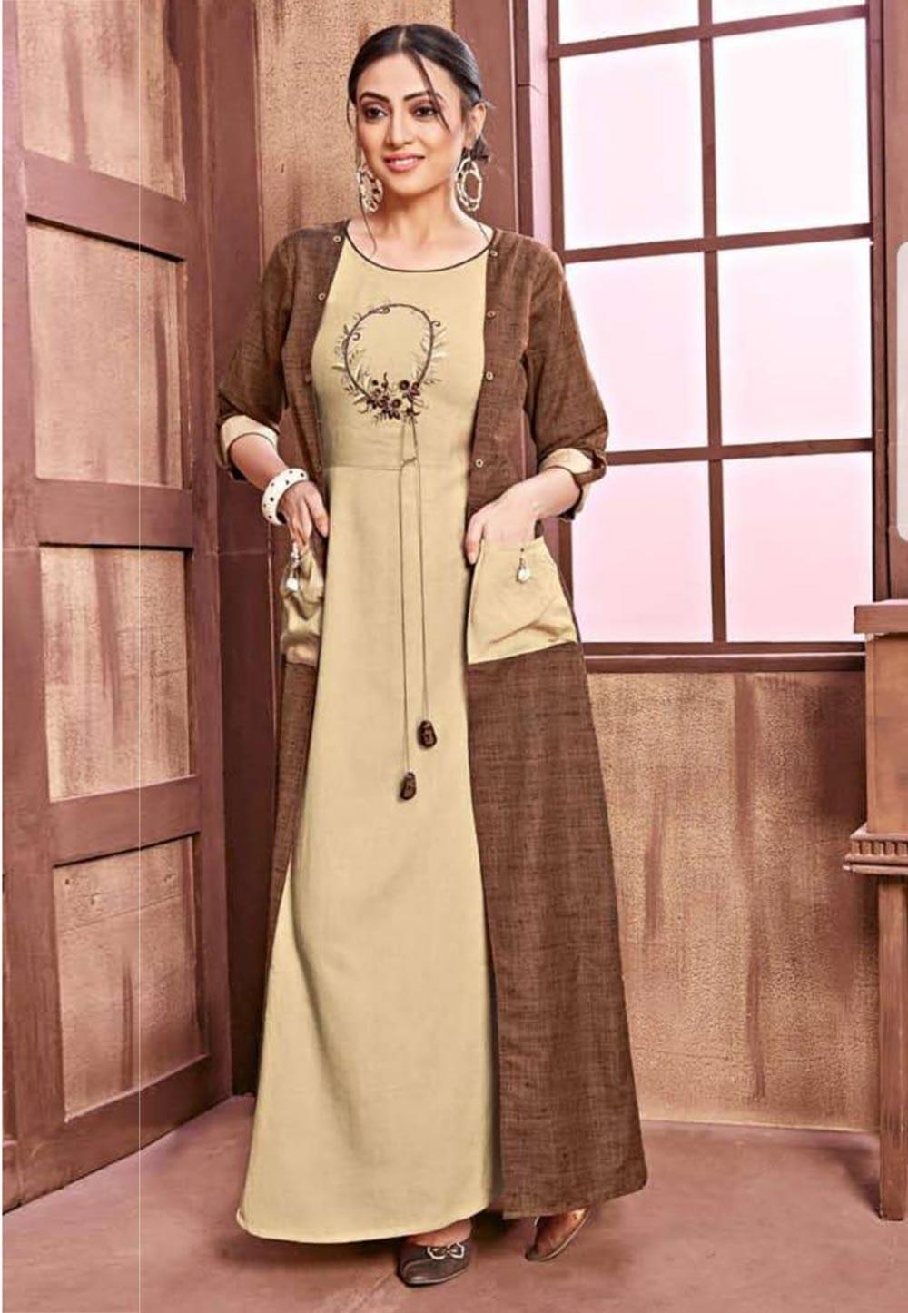 Beige,Brown Colour Women's Kurti.