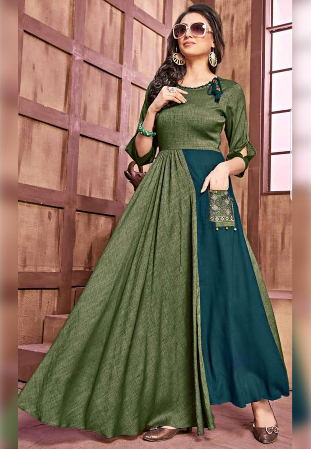 Green Colour Designer Kurti.