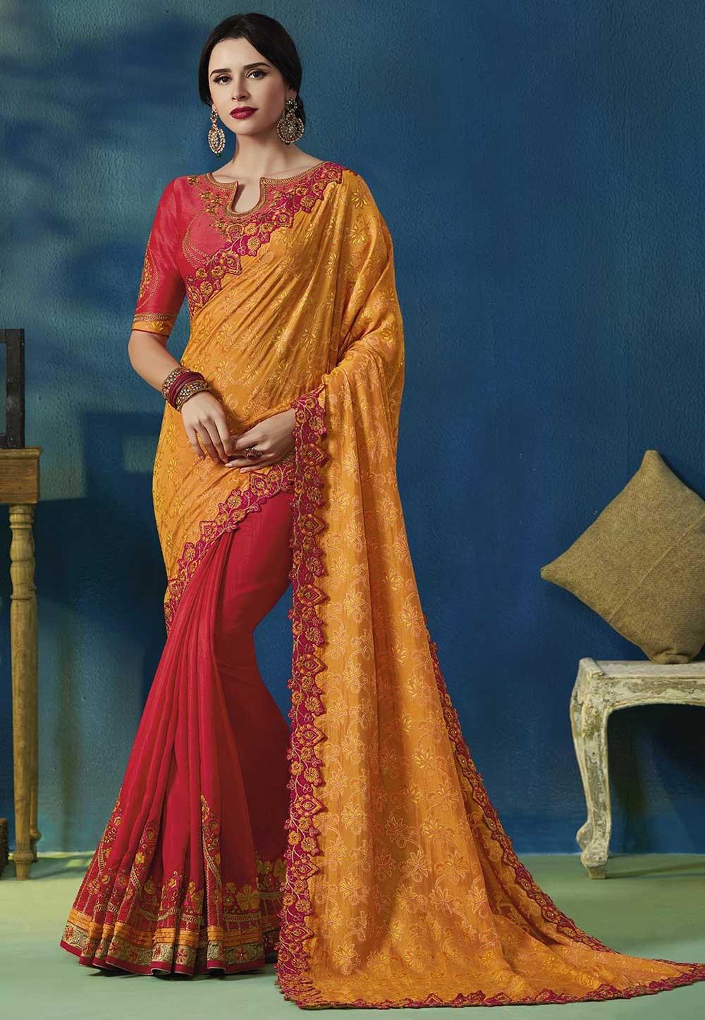 Orange,Red Colour Indian Designer Sari.
