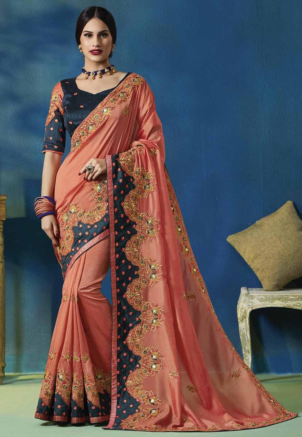 Peach Colour Traditional Silk Saree.