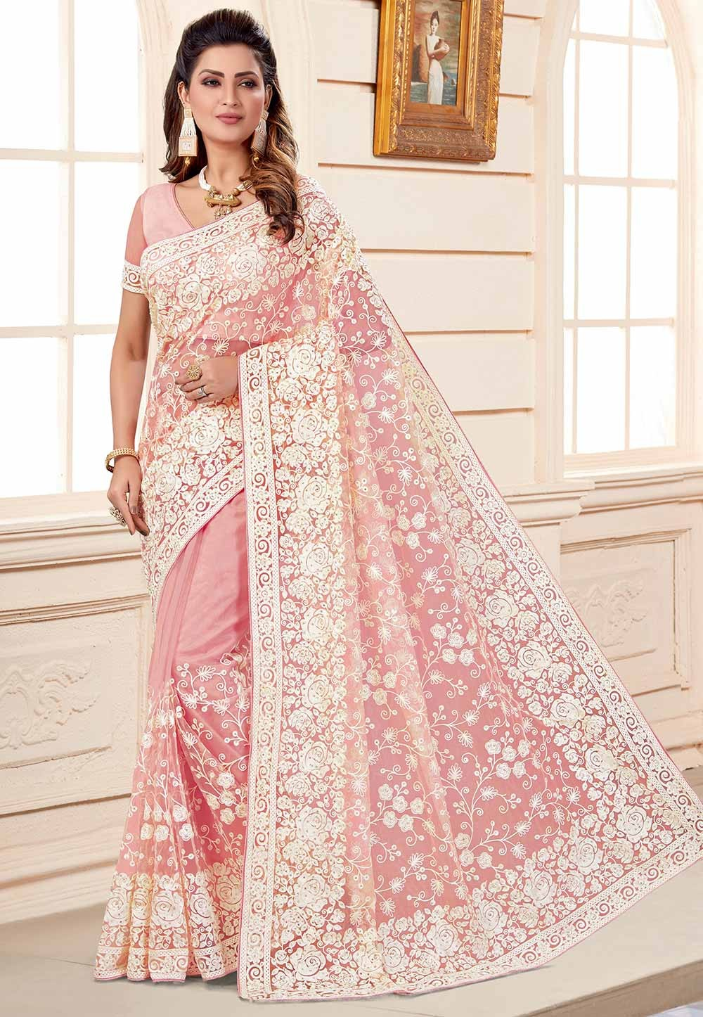 Pink Colour Embroidered Saree.