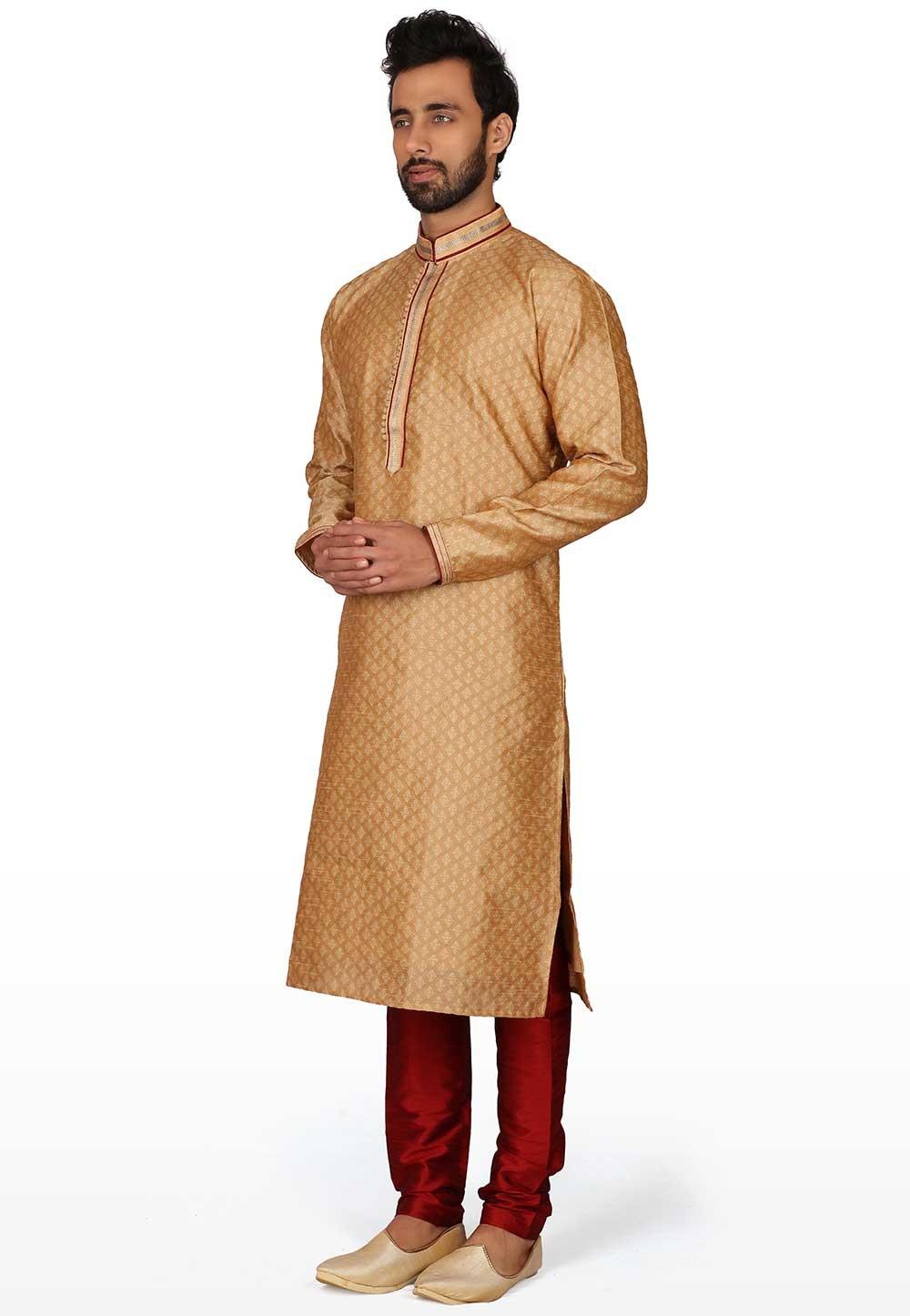 Golden Colour Men's Kurta Pajama.