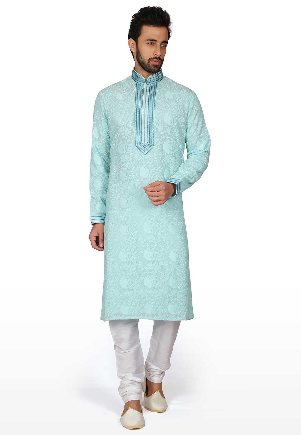 Lucknowi Fabric Designer Kurta Pajama.