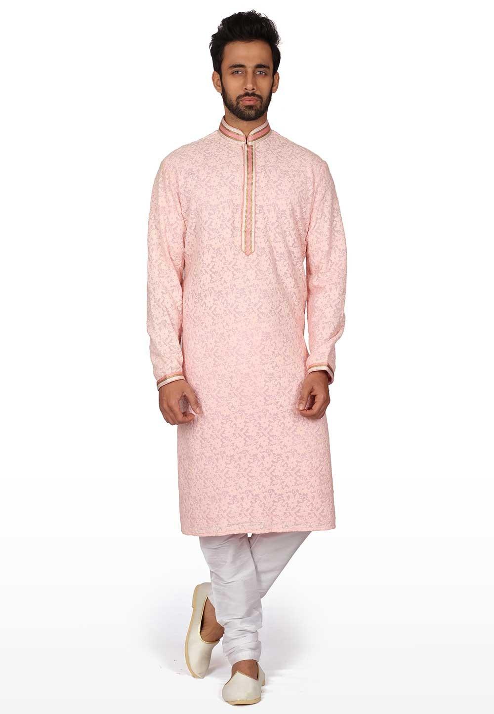 Pink Colour Men's Wear Kurta Pajama.