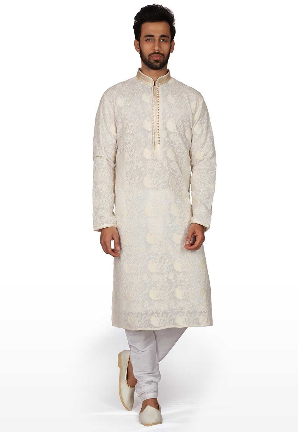 Cream Colour Indian Designer Kurta Pyjama.