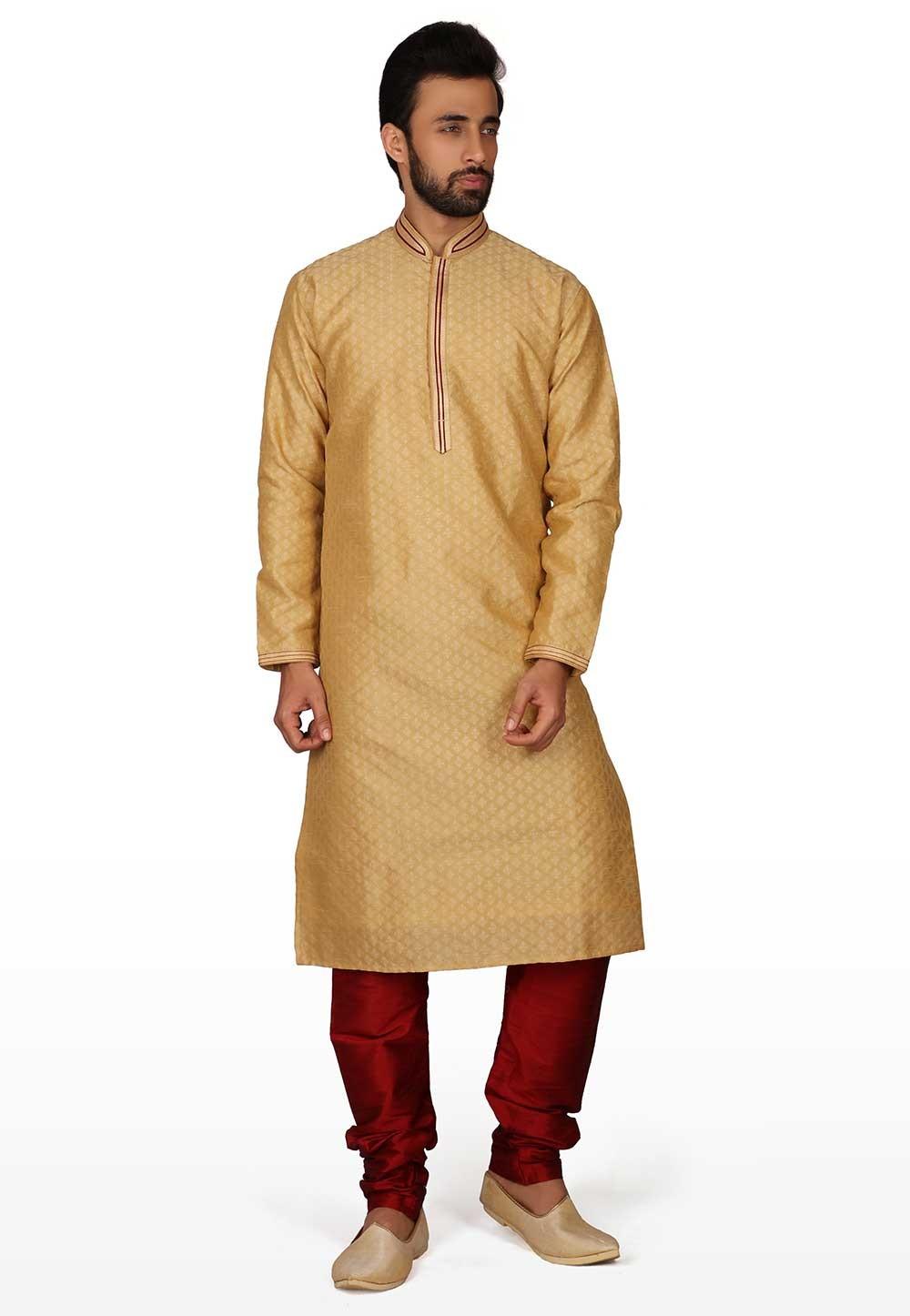 Golden Colour Traditional Kurta Pajama.