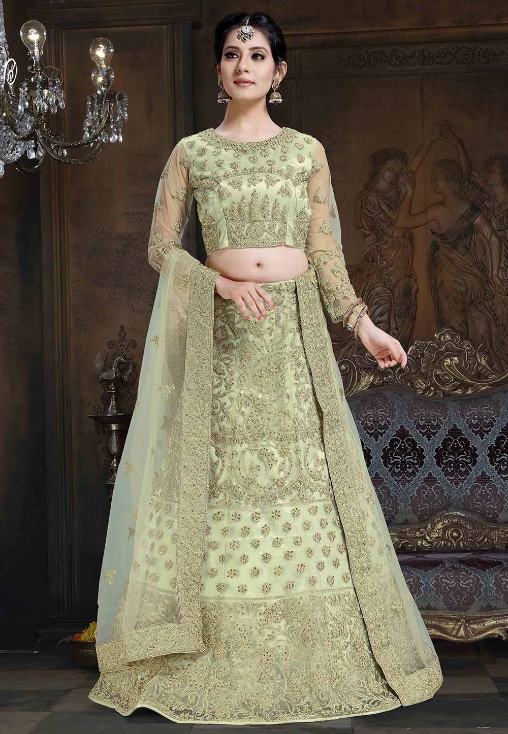 Pista Green Colour Wedding Lehenga Choli.