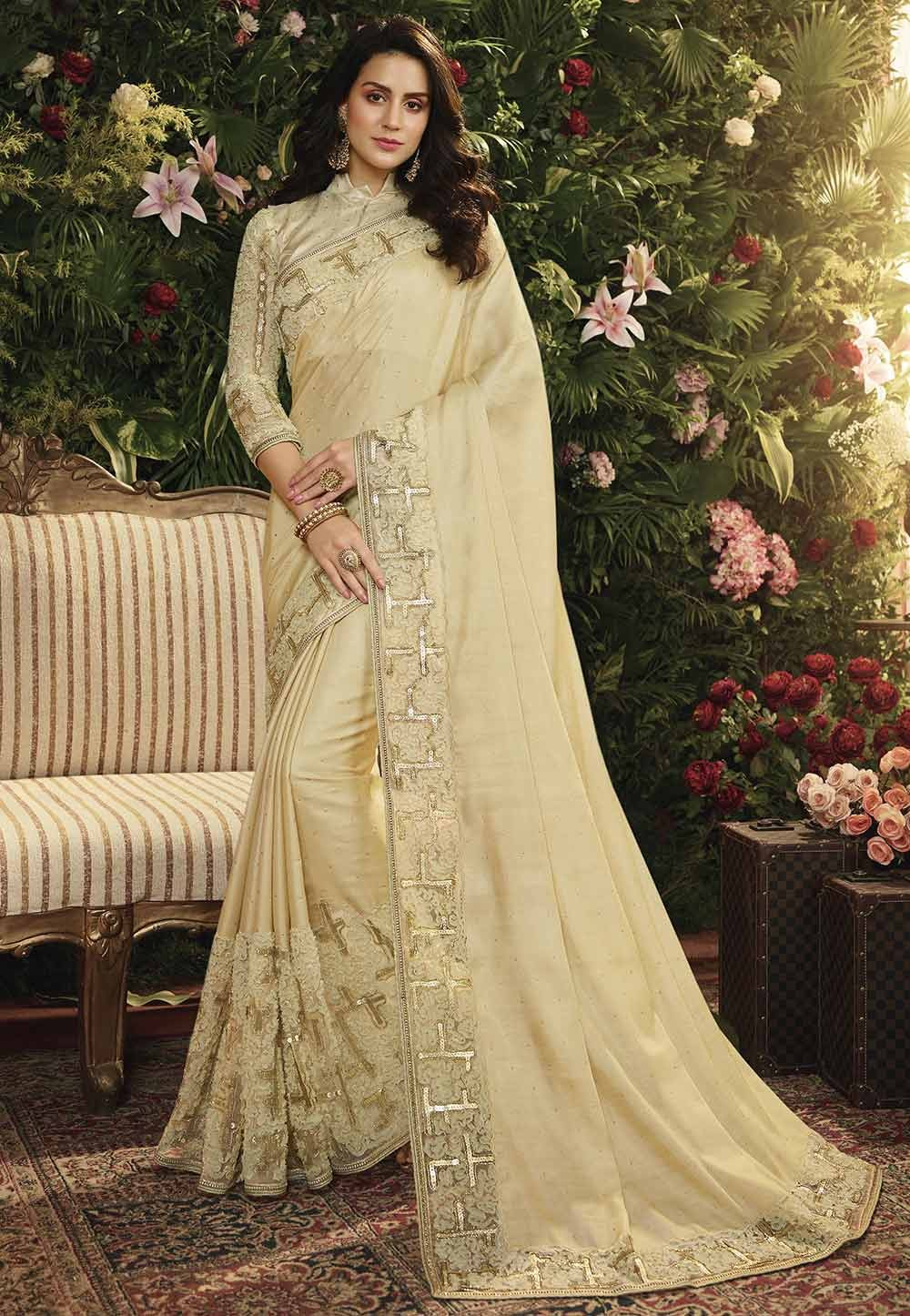 Cream Colour Designer Silk Saree.
