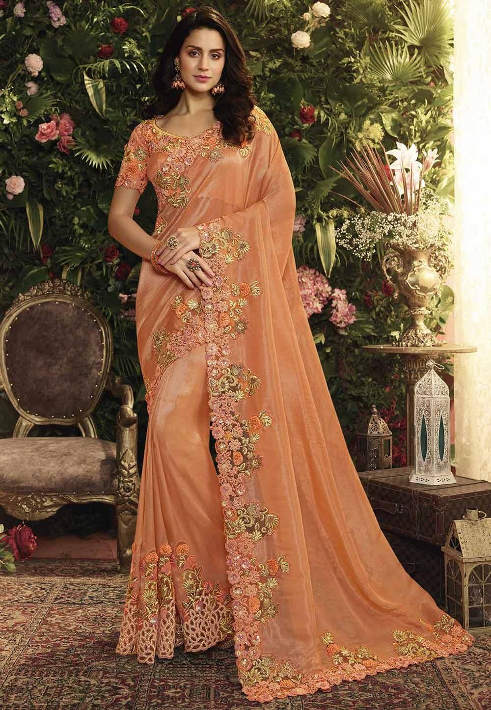 Orange Colour Embroidery Sari.