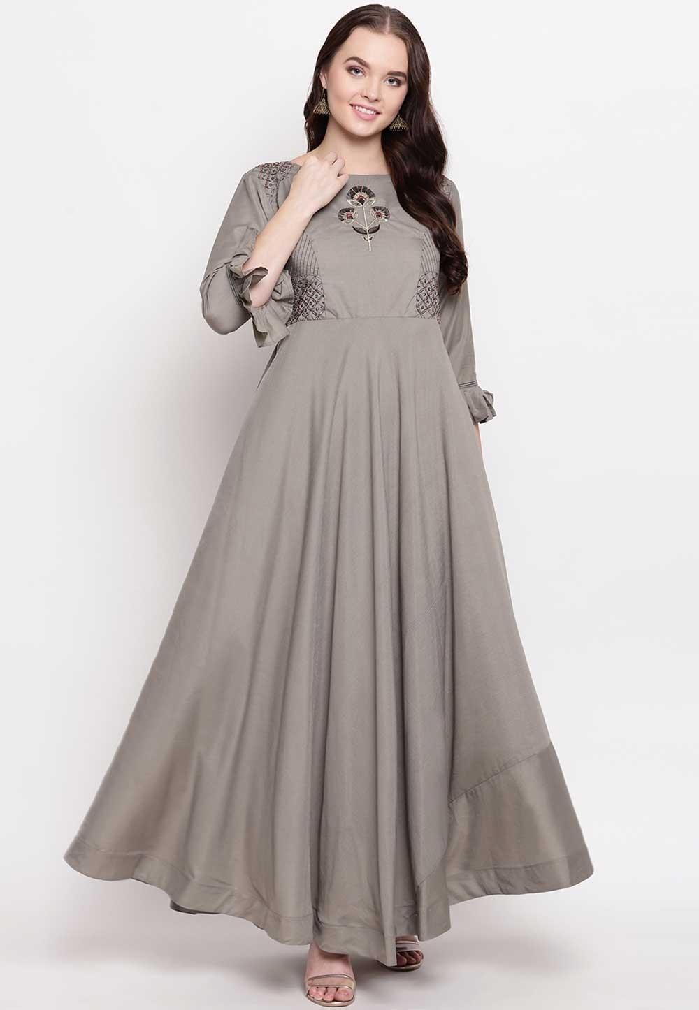 Grey Colour Cotton Readymade Kurti.