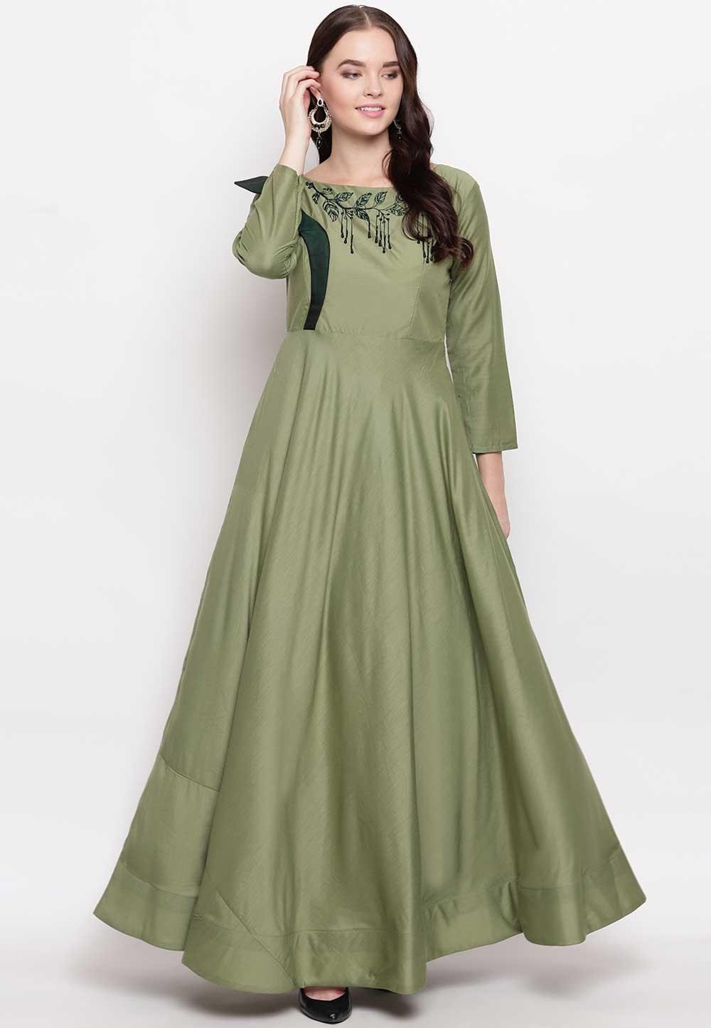 Green Colour Anarkali Style Cotton Kurti.