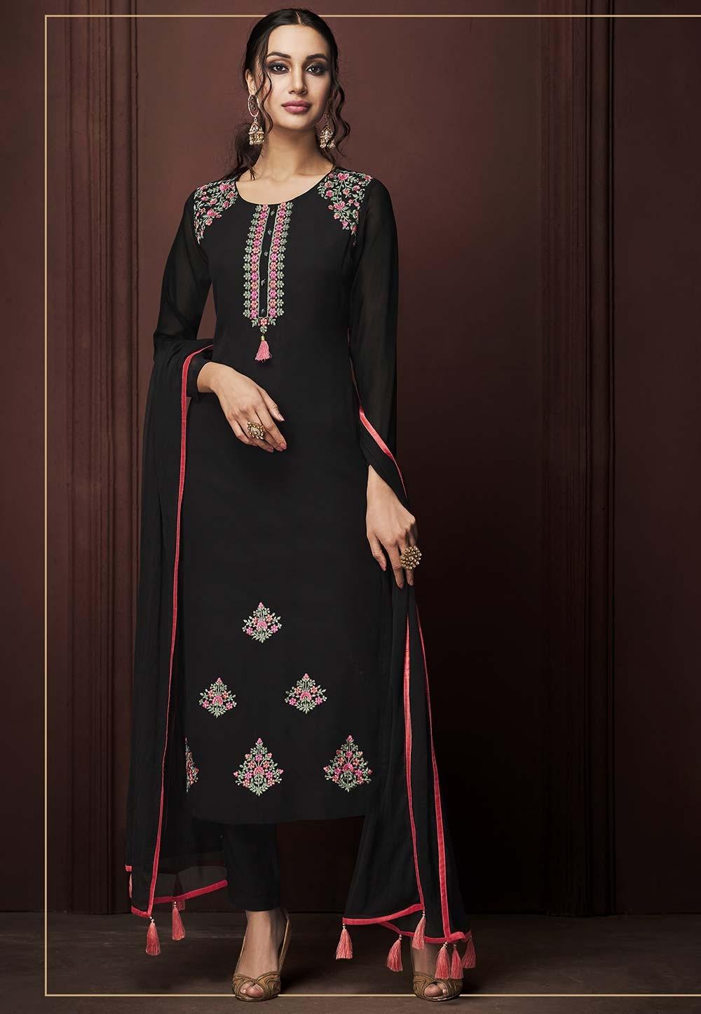 Black Colour Party Wear Salwar Suit.