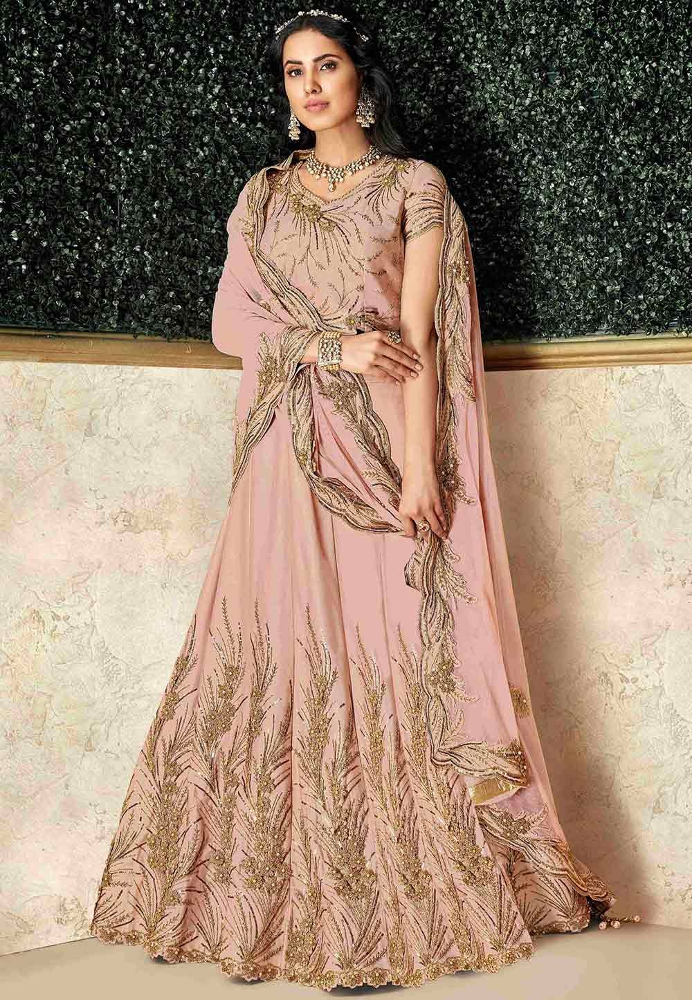 Designer Lehenga Choli Peach Colour.