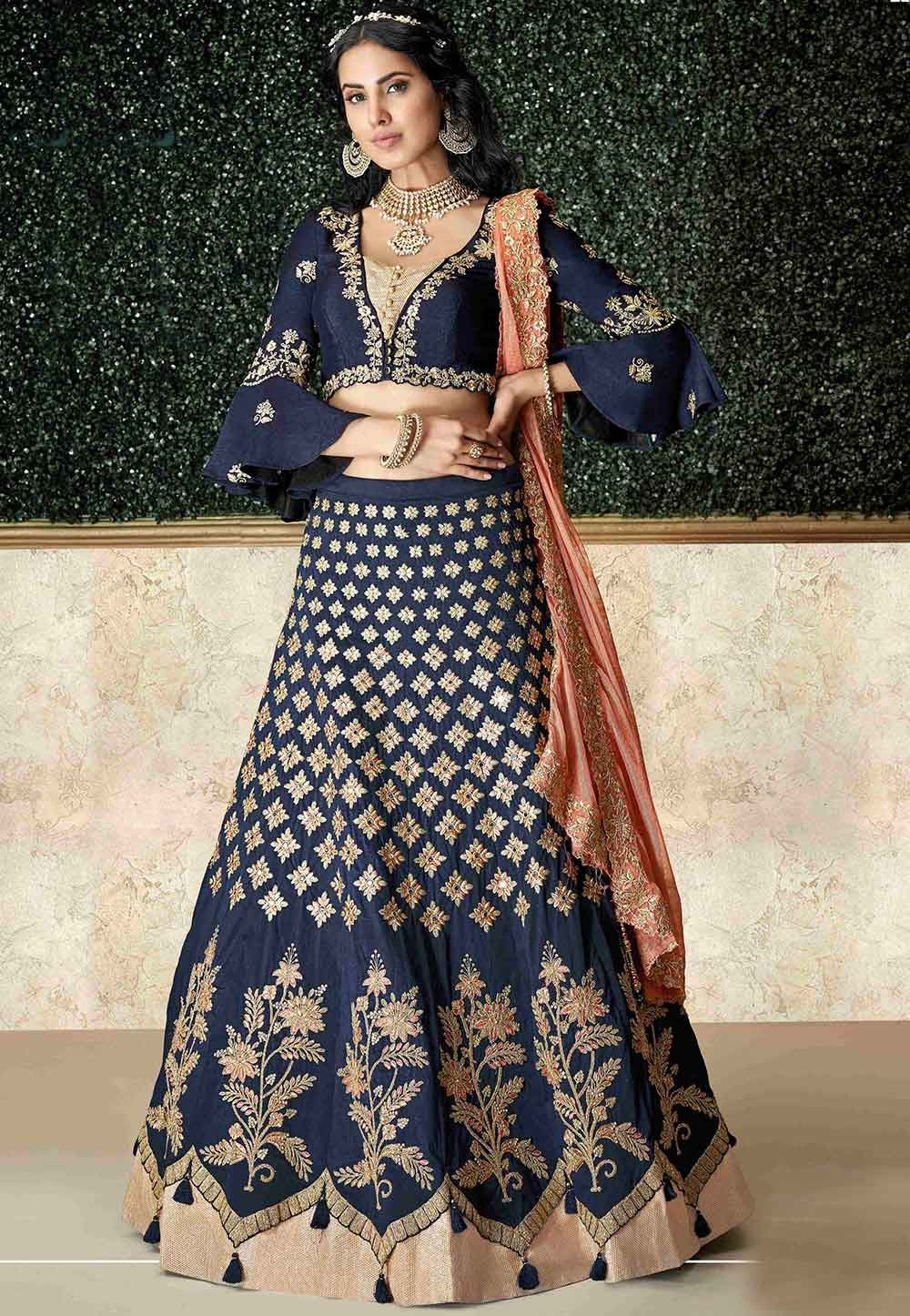 Blue Colour Silk Lehenga Choli.