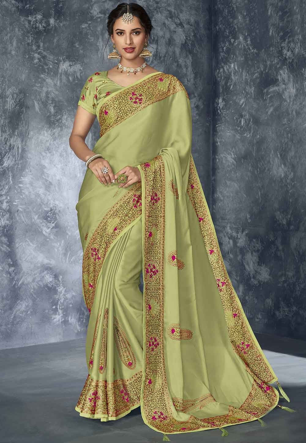 Indian Traditional Saree Pista Green Colour.