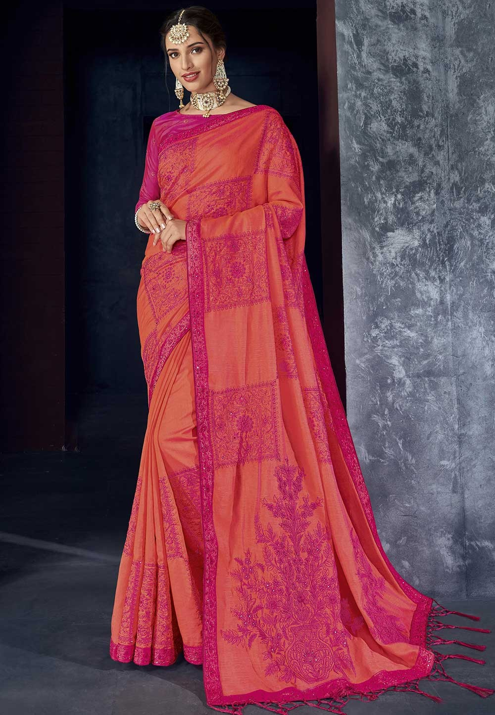 Pink,Red Colour Silk Saree.