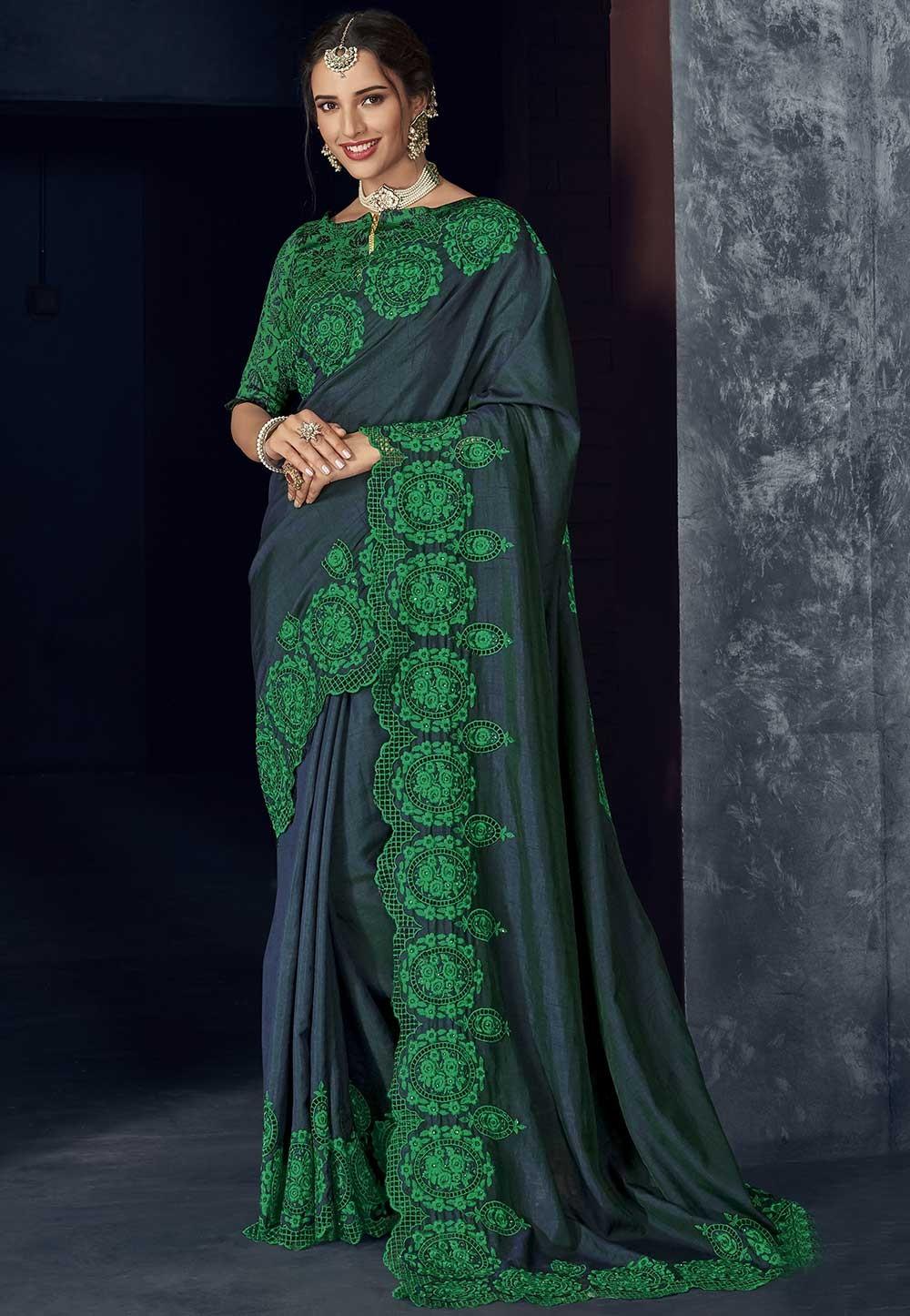 Blue,Green Colour Indian Saree.