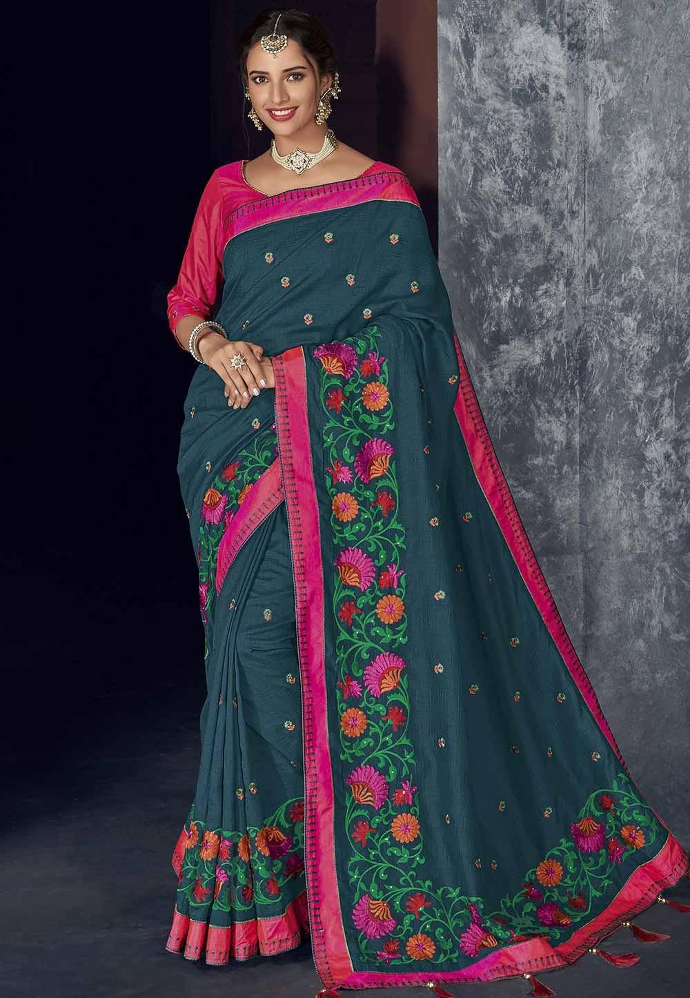 Beautiful Designer Saree Blue Colour.